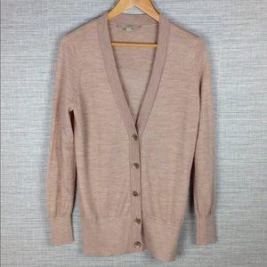 LOFT Tan Wool Blend Boyfriend Cardigan Sweater